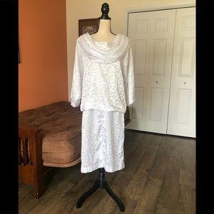 VINTAGE white satin floral drop waist dress